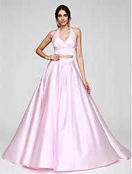 A-Line Halter Sweep / Brush Train Satin Prom Formal Evening Dress with Pleats by TS Couture®