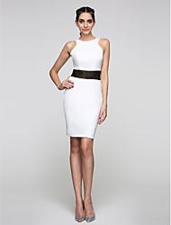 2017 ts cocktail couture® bainha de vestido de festa / coluna jóia na altura do joelho laço / jersey com rendas