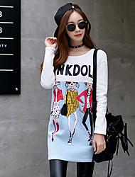 Damen Standard Hoodies-Ausgehen / Lässig/Alltäglich / Urlaub Retro / Niedlich / Street Schick Druck / Einfarbig / Buchstabe Weiß