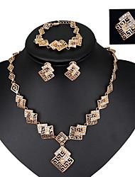 Schmuckset Modisch Vintage Krystall Aleación Rotgold Halsketten Ohrringe Ringe Armband Für Hochzeit 4 Stück Hochzeitsgeschenke