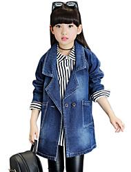 Girl's Cotton Spring/Autumn Fashion Solid Color Long Sleeve Cowboy Jacket Denim Coat