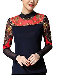 Mulheres Blusa Casual Moda de Rua Primavera / Outono,Estampado Azul / Preto Náilon / Elastano Colarinho Chinês Manga Longa Média