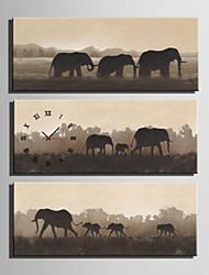 Moderne/Contemporain Animaux Horloge murale,Rectangulaire Toile 30 x 60cm(12inchx24inch)x3pcs/ 40 x 80cm(16inchx32inch)x3pcs Intérieur