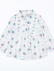Girl's Casual/Daily Print Blouse,Cotton Fall White
