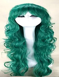 Capless Green Wigs  Long  Wavy  Synthetic Hair Wigs Woman's  Costume Wig