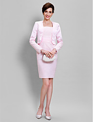LAN TING BRIDE Sheath / Column Mother of the Bride Dress - Convertible Dress Knee-length Long Sleeve Lace Satin with Lace