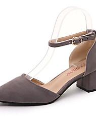 Damen-High Heels-Lässig-Wildleder-Niedriger Absatz-Komfort-Schwarz Grau