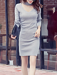 Women's Casual/Daily Simple Sweater Dress,Solid V Neck Knee-length Long Sleeve Black / Gray Cotton
