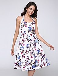 Women's Going out Vintage A Line Dress,Floral Halter Knee-length Sleeveless White Cotton Summer