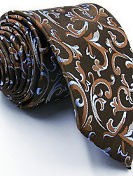 For Men 100% Silk Light Brown Floral Men's Necktie Tie Jacquard Woven Dress