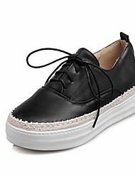 Women's Flats Fall / Winter Comfort / Flats Denim / Rubber Office/ Casual Flat Heel Ribbon Tie Black/Blue/Pink/ White