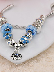 Women's Circle Blue Glass  Strand Bracelets