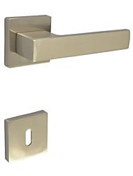 Square Door Lever, Handleset, Door handle with Key Hole Escutchoen Color Brush Nickle