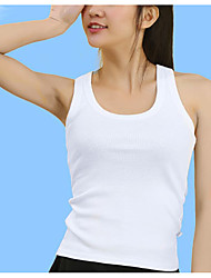 Women's Casual/Daily Simple Summer Tank Top,Solid Round Neck Sleeveless Cotton