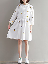 Women's Casual/Daily Simple Loose Dress,Print Stand Above Knee Long Sleeve White Polyester Spring
