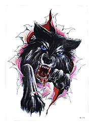 1pc Temporary Tattoo Sticker Women Men Body Arm Leg Art Bloodiness Wolf Breaking Paper Picture Design Tattoo HB-376