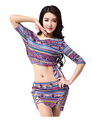 Belly Dance Outfits Women's Training Spandex Pattern/Print 2 Pieces Belly Dance Half Sleeve Dropped Top / Skirt