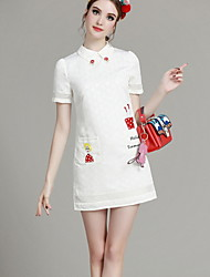 MIUCO Casual/Daily Simple A Line Dress,Embroidered Shirt Collar Above Knee Short Sleeve Pink Cotton Summer