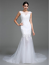 LAN TING BRIDE Fit & Flare Wedding Dress See-Through Court Train Scoop Satin Tulle with Appliques Button