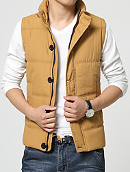 Autumn and winter leisure men's Vest feather cotton vest pure cotton jacket collar thickening business casual tide