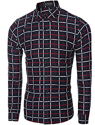 Men's Plaids Casual / Work Shirt,Cotton Long Sleeve Red / Yellow