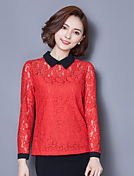 Women's Bodycon Lace Doll Collar Cut Out Long Sleeve  Blouses