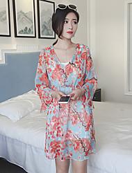 Women's Casual/Daily Simple Sheath Dress,Print V Neck Knee-length Long Sleeve Blue Rayon Summer