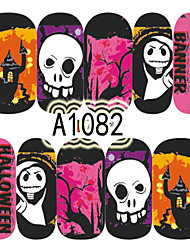 1pcs Nail Art Halloween Sticker Interesting Skull Haunted House DIY Nail Art Decoration A1082