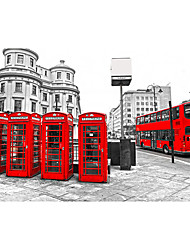 3D Shinny Leather Effect Large Mural Wallpaper City Night Scene and Red Bus Telephone Booth Art Wall Decor Wall Paper