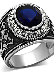 Latest Jewelry Stainless Steel Synthetic Glass Ring Men Fashion Rings Lead Free Anti Allergic Wedding Party  Christmas Gifts