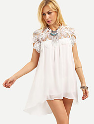 Women's Casual/Daily Simple Loose Dress,Solid Round Neck Asymmetrical Short Sleeve White Spandex Summer