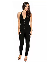 Women's Sexy Solid Black Jumpsuits,Street chic Deep U Sleeveless Backless Pencil Pants