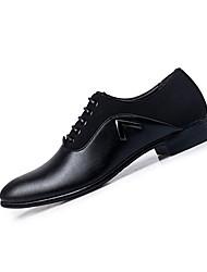 Herren-Flache Schuhe-Lässig-Leder-Flacher Absatz-Komfort-Schwarz / Braun