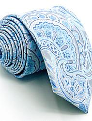 Men's Necktie Tie 100% Light Blue Paisley Jacquard Woven For Men Dress Casual Business