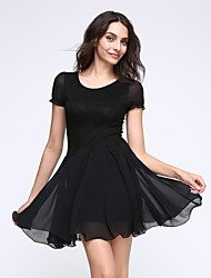 Women's Sexy Casual  Cute Plus Sizes  Dress ( chiffon)