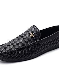 Herren-Flache Schuhe-Lässig-Leder-Flacher Absatz-Komfort-Schwarz / Gold