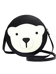 Women PU Casual Circular Stitching Cartoon Bear Shopping Shoulder  Key Holder Cosmetic Mobile Phone Bag