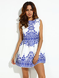 Women's Casual/Daily Street chic Sheath Dress,Floral Round Neck Above Knee Sleeveless White Polyester Summer