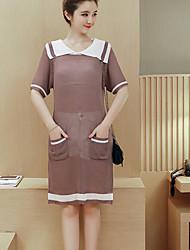 Mulheres Reto Vestido,Casual Simples Patchwork Colarinho de Camisa Acima do Joelho Manga Curta Roxo Algodão Primavera / Verão