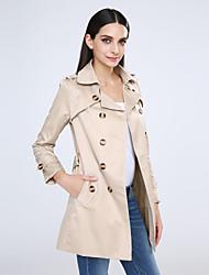 Damen Solide Trenchcoat,Frühling / Herbst Langarm Beige / Schwarz Mittel Baumwolle / Polyester