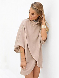 Women's Casual/Daily Street chic Loose Dress,Solid Turtleneck Above Knee ¾ Sleeve Beige Cotton Spring / Fall