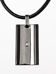 Homens Colares com Pendentes Pele Aço Titânio imitação de diamante Moda Estilo simples Jóias de Luxo Preto Prata Jóias ParaFesta Diário