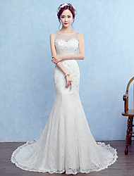 Trumpet / Mermaid Wedding Dress Court Train Scoop Lace with Beading