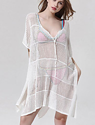 Women's Beach Sexy Loose Dress,Solid Deep V Asymmetrical ½ Length Sleeve White Polyester Summer