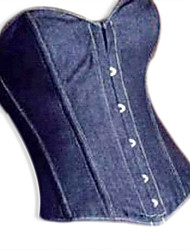 Blue Denim Under bust Corset  Blue Corselet Front Zip Waist Training Corsets and Bustiers Top Sexy Body Shape Corsage