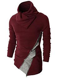 Hombre Regular Pullover Casual/Diario Simple,Bloques Rojo Negro Cuello Alto Manga Larga Pelo de Conejo Primavera Otoño Medio Microelástico