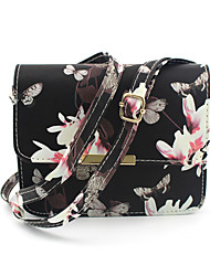 Women PU Casual Daffodils Floral Print Snap Rectangle Shoulder Bag