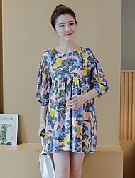 Maternity Casual/Daily Simple Loose Dress,Floral Round Neck Above Knee ¾ Sleeve Multi-color Polyester Summer