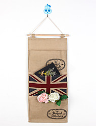 Three Pockets British Flag DoorJute StorageBag