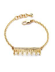 Bohemian Rhinestone Chain Bracelets Golden Pearl Bracelet Fashionable Geometric Alloy Jewellery